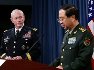 Chairman of the U.S. Joint Chiefs of Staff Dempsey and Chief of the General Staff of the Chinese PLA Fang hold a joint news conference at the Pentagon