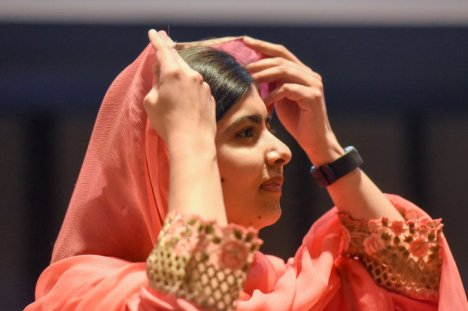 Malala Yousafzai attends a ceremony after being selected a United Nations messenger of peace in New York